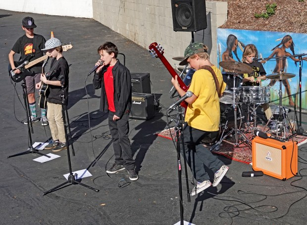 Members of Stink Inc., pictured at a San Clemente Skatepark Coalition fundraiser Jan. 14, are, from left Kieran Ota, Spencer Davis, Trae Mantecon, Max Calandra and Rocco Calandra. (Photo by Fred Swegles; Orange County Register/SCNG)