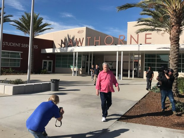 A trip down memory lane: Brian visiting Hawthorne High School #BeTrueToYourSchool #Hawthorne Credit Brian Wilson