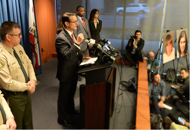 Riverside County District Attorney Michael Hestrin announces charges against David Turpin, 56, and Louise Turpin, 49 of Perris, Ca., who are accussed of torture and child endangerment against their 13 children, Thursday, at the Riverside County District Attorney's office in downtown Riverside, Ca., January 18, 2018. The Perris couple are charged with 12 counts of torture, seven counts of abuse of a dependent adult, six counts of child abuse and 12 counts of false imprisonment. A charge was also filed against David Turpin of one count of a lewd act on a child by force, fear or duress. (John Valenzuela/Press Enterprise/SCNG)