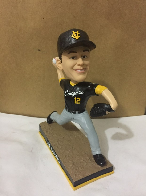 A sample of Kyle Hendricks' Capistrano Valley High School bobblehead, which was sent to the school earlier this week. The school will have 100 bobbleheads for sale starting Friday, Jan. 26. (Courtesy of Capistrano Valley High School)