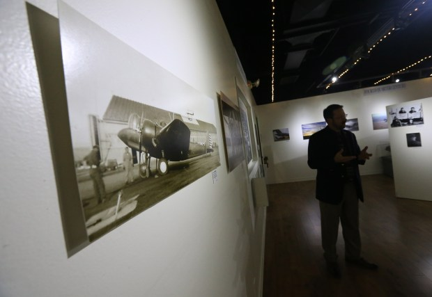 An exhibit of more than 55 photographs highlighting the last 100 years of March Field is currently on display at March Field Air Museum in Riverside on Friday, Jan. 19, 2018. (Stan Lim, The Press-Enterprise/SCNG)