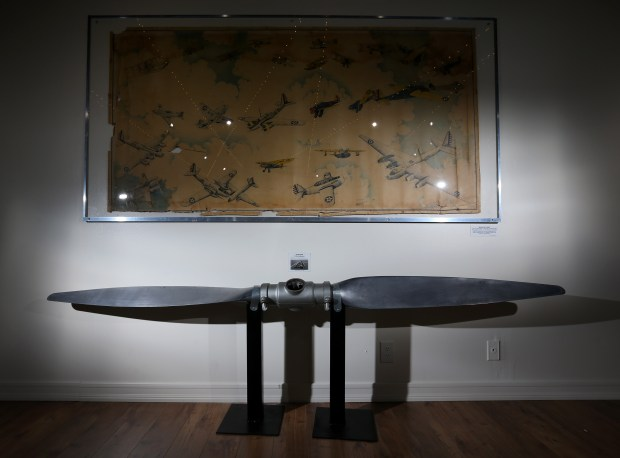 A propeller from a P-26 Peashooter on displayed in an exhibit celebrating the 100th anniversary of March Field at March Field Air Museum in Riverside on Friday, Jan. 19, 2018. (Stan Lim, The Press-Enterprise/SCNG)