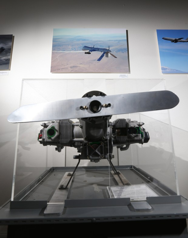 A MQ-1B Predator engine on displayed in an exhibit celebrating the 100th anniversary of March Field at March Field Air Museum in Riverside on Friday, Jan. 19, 2018. (Stan Lim, The Press-Enterprise/SCNG)