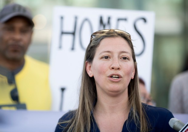 Attorney Brooke Weitzman, with the Elder Law and Disability Rights Center, speaks during a press conference at ARTIC in Anaheim on Monday, Jan. 29, 2018. The group is trying to stop the clearing of tent encampments along the Santa Ana River Trail. (Photo by Paul Bersebach, Orange County Register/SCNG)