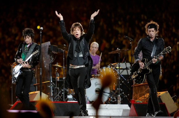 The Rolling Stones perform during the halftime of the Super Bowl XL football game Sunday, Feb. 5, 2006, in Detroit. From left are Ron Wood, Mick Jagger, Charlie Watts and Keith Richards. (File photo by David J. Phillip, Associated Press)