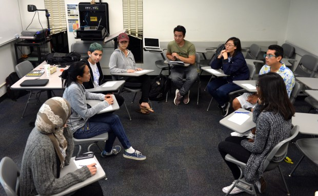 Members of the CSULB chapter of Active Minds discusses coping mechanisms inside a classroom on campus. Active Minds is a nonprofit organization that empowers students to speak openly about mental health in order to educate others and providing information, leadership opportunities and advocacy training, mental health awareness, education and resources regarding mental health and mental illness, encourage students to seek help and serve as liaison between students and the mental health community.(Photo by Stephen Carr, Daily Breeze / SCNG)