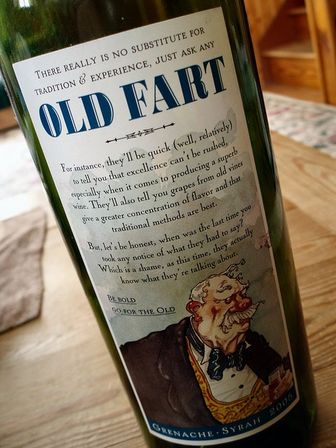 """Old Fart: """"Many people choose wine based on the label and funny names are where it's at,"""" said the Girl Gone Mom blog about this budget-priced wine, which was apparently a hit in the British market a decade ago. Call me sensitive, but for """"funny"""" I'd prefer a Peanuts character to this guy and his rude moniker. (Photo courtesy Boutinot)"""