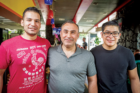 Owner and sons, Richard, left, Munther and Louis Ali Deeb at Kimchichanga in Riverside, Thursday, June 1, 2017. (Eric Reed/Riverside Magazine/)