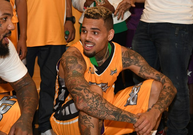 Chris Brown at the Celebrity Basketball Game during the 2017 BET Experience, at the Los Angeles Convention Center on June 24, 2017. (Photo by Paras Griffin/Getty Images for BET)