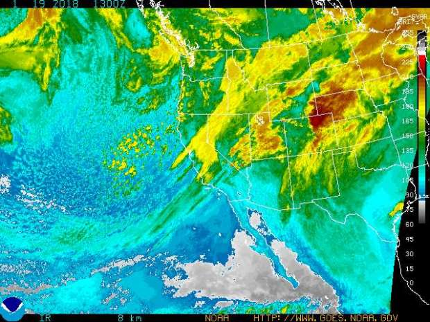 Storm activity can be seen in many Western states on Friday, Jan. 19, 2018, including Northern California, and the Pacific Northwest. There is a chance of rain in Southern California, with possible snow in local mountains and even in the Antelope Valley as a cold storm moves swiftly through the area. (Enhanced infrared satellite map courtesy of the National Weather Service)