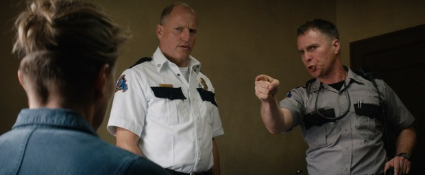 """This image released by Fox Searchlight Pictures shows Woody Harrelson, center, and Sam Rockwell in a scene from """"Three Billboards Outside ebbing, Missouri."""" Harrelson and Rockwell were nominated for an Oscar for best supporting actor on Tuesday, Jan. 23, 2018. The 90th Oscars will air live on ABC on Sunday, March 4. (Fox Searchlight Pictures via AP)"""