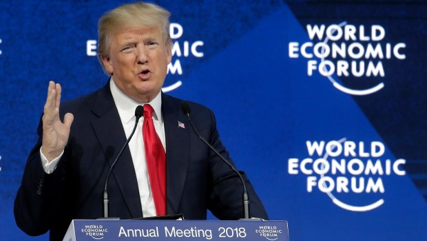 U.S. President Donald Trump delivers a speech during the annual meeting of the World Economic Forum in Davos, Switzerland, Friday, Jan. 26, 2018. (AP Photo/Markus Schreiber)