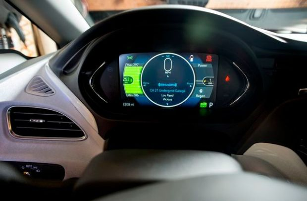 Dashboard readout of the Chevrolet Bolt EV, with 220 volt current in owner's his Santa Monica garage on March 29, 2017. The Bolt EV is an all-electric vehicle with a near 240 mile driving range. (SCNG (Photo by Leo Jarzomb)
