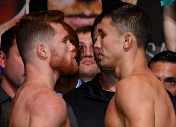 Sept 15,2017. Las Vegas, NV. (L-R) Canelo Alvarez faces off with GGG during the weighs in's at the MGM grand hotel Friday. Canelo Alvarez will be fighting GGG Saturday at the T-Mobile arena for the WBC,WBA,IBF,IBO ring middleweight titles.Photos by Gene Blevins/LA DailyNews/SCNG