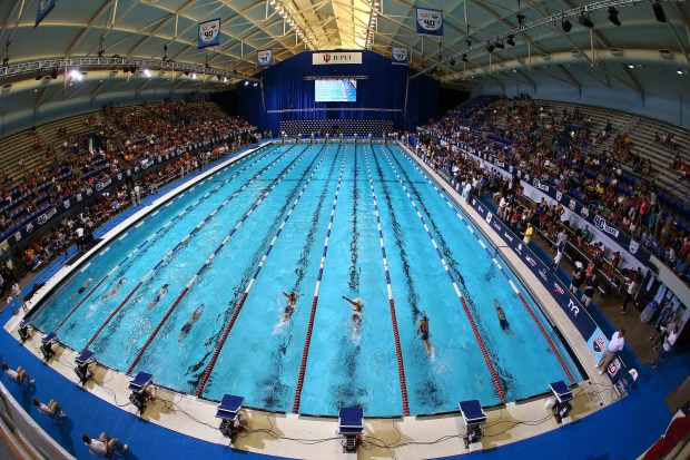 INDIANAPOLIS, IN - JUNE 28: A general view of a race during finals on day 4 of the 2013 USA Swimming Phillips 66 National Championships and World Trials at the Indiana University Natatorium on June 28, 2013 in Indianapolis, Indiana. (Photo by Streeter Lecka/Getty Images)