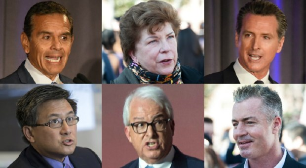California gubernatorial candidates (clockwise from top left) Antonio Villaraigosa, Delaine Eastin, Gavin Newsom, Travis Allen, John H. Cox and John Chiang. (SCNG file photos)