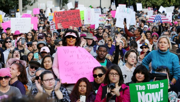 Thousands gather in front of Riverside City Hall during The Women's March on Riverside in this January 2017 file photo.