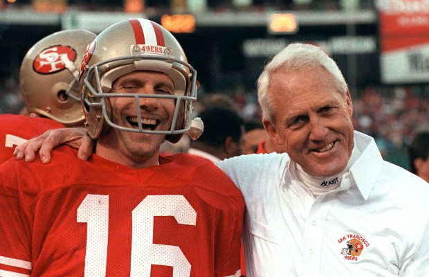 San Francisco 49ers quarterback Joe Montana and head coach Bill Walsh and his famed West Coast offense helped usher in an era of dominance and prosperity for the franchise. (AP Photo)
