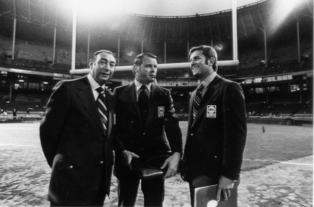 """On Sept. 21, 1970, the lights went on and an American institution began -- ABC's NFL """"Monday Night Football."""" Howard Cosell, Keith Jackson and Don Meredith (l-r) called the game between the New York Jets and Cleveland Browns. (Photo: ABC/ESPN files)"""