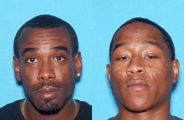Brandon Hall, 28, left, and Darcell Harris, 23, right, were arrested on suspicion of murder, attempted murder and attempted robbery in connection with a botched break-in at a San Bernardino pawn shop on Jan. 10, 2018, that left one man dead of gunshot wounds and two people injured from a fire. (Photos courtesy of San Bernardino Police Department)