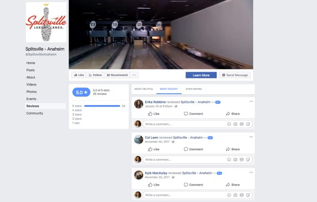 Splitsville Luxury Lanes bowling alley in Downtown Disney has 5-star reviews on its Facebook page even though it hasn't opened yet.