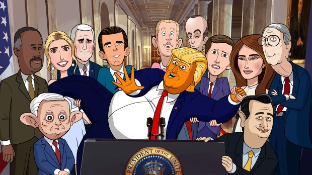 "Animated cast of ""Our Cartoon President"" begins on Showtime Feb. 11."