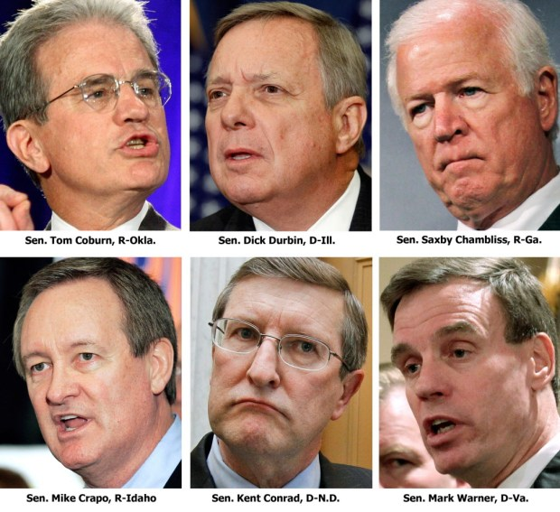 ORG XMIT: WXSC110 FILE - This combination image from file photos shows the six-member bipartisan group of U.S. senators, referred to as the Gang of Six, who are closing in on what could represent the best chance for tackling a national deficit crisis. Still a work in progress, their plan would reduce borrowing by up to $4 trillion over the next decade by putting the two parties' sacred cows on the chopping block. They are, clockwise from top left, Sen. Tom Coburn, R-Okla., Sen. Dick Durbin, D-Ill., Sen. Saxby Chambliss, R-Ga., Sen. Mark Warner, D-Va., Sen. Kent Conrad, D-N.D., and Sen. Mike Crapo, R-Idaho. (AP Photo/Files)