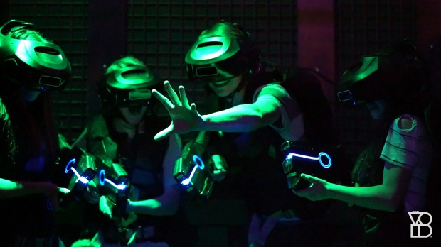 "People experiencing what it's like to be on ""the planet Mustafa in the Star Wars galaxy"" while going through The Void attraction at Downtown Disney, Anaheim. Photo courtesy of The Void."