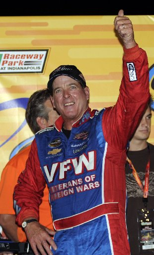 Ron Hornaday Jr. reacts after winning the AAA Insurance 200 Camping World Series truck race, in 2009 at Indianapolis. (AP Photo/The Indianapolis Star, Greg Griffo)
