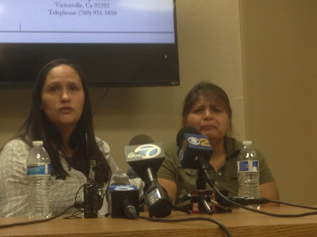 Rosa Trujillo, left, aunt of Gerardo Vazquez, and Vazquez's mother,Maria Vazquez, speak at a news conference Friday, Feb. 2, in Victorville. Gerardo Vazquez was seen being hit by a San Bernardino County sheriff's deputy in a videotaped incident. Photo by Brian Rokos, Southern California News Group