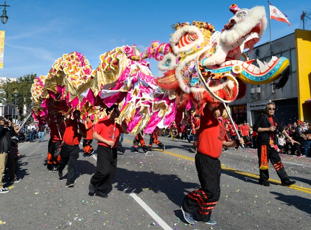 Dragon dancers perform during the 118th annual Golden Dragon Parade and Chinese New Year Festival to welcome the ``Year of the Rooster'' along Hill and Broadway in Chinatown on Saturday February 4, 2017. The event featured firecrackers, dragon dancers, floats community leaders and the 2017 Miss Chinatown Queen and her court. (Photo by Keith Durflinger/Los Angeles Daily News/SCNG)