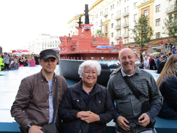 From left, Vadim Rusanov of St. Petersburg, Janet Landfried and Jeff Abuhl in front of a model of the nuclear-powered icebreaker Artika. The Artika was Rusanov's first posting. Rusanov was working on the icebreaker Yamal when Landfried and Abuhl took a trip to the North Pole on that ship in 2001. The Artika model was part of Moscow's 870th anniversary celebration. (Photo courtesy of Janet Landfried)