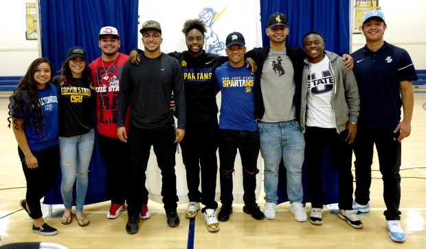 Lani Rodriguez, Melanie Aguilera, Nate Aceves, Timothy Smith, Jermaine Braddock, Isaiah Hamilton, Mario Mora, Michael Anyanwu, Louis Farrar during National Signing Day at Charter Oak High School in Covina, Calif., on Wednesday, Feb. 7, 2018. (Photo by Keith Birmingham, Pasadena Star-News/SCNG)