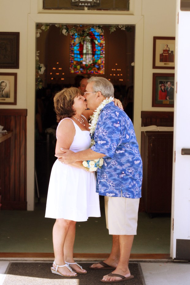 Mike Gaggos and his wife had their 2011 ceremony at Knott's Berry Farm's historic church. /Courtesy of Mike Gaggos