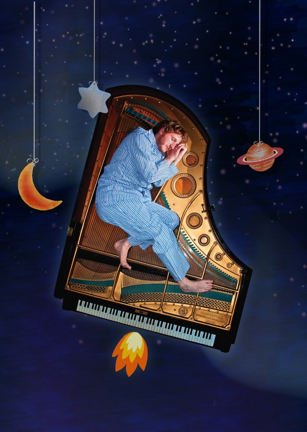 Will Pickvance created, wrote and performs the one-man show that involves a story about a boy who gets a piano instead of a spaceship for Christmas and dreams of flying it to the moon. (Photo courtesy Shaw Entertainment Group)