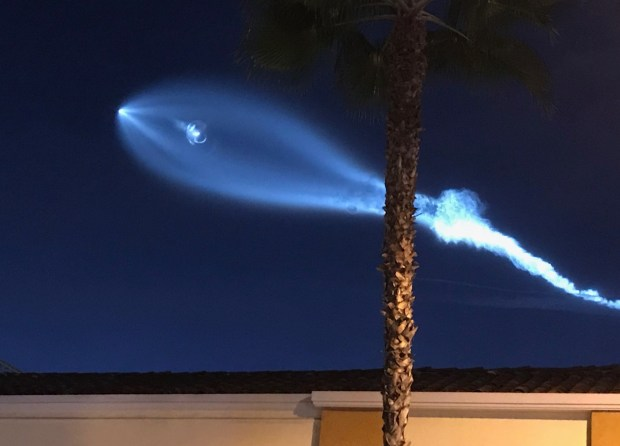 A SpaceX rocket launched at dusk on Dec. 22 created a magical display across the region as the exhaust's water vapor hit cold air. Another ghostly viewing could be on tap at dawn Saturday.Staff photo by Frank Suraci