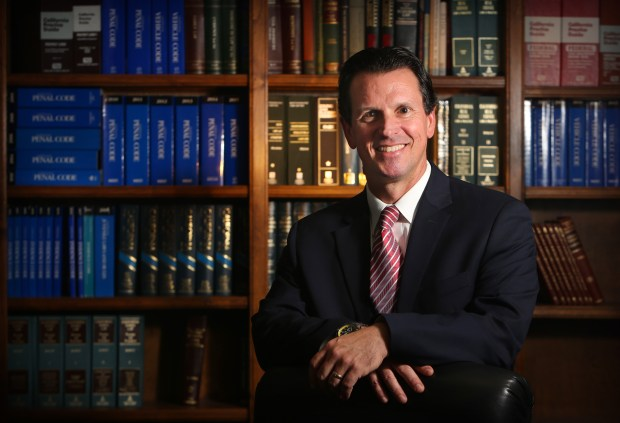 Defense attorney and former San Bernardino County prosecutor Jason Anderson is challenging incumbent Mike Ramos for District Attorney in this year's election.(Stan Lim, San Bernardino Sun/SCNG)