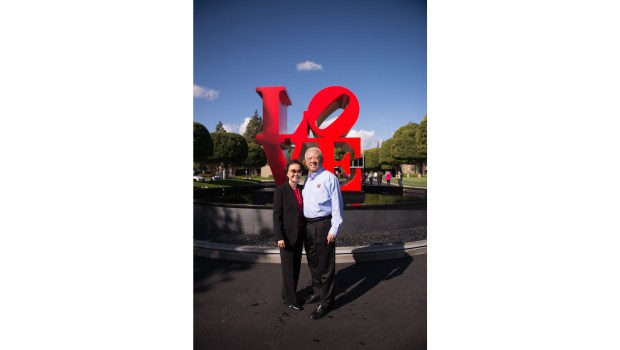 "Peggy and Andrew Cherng, founders of Panda Express and the Panda Restaurant Group, privately donated a Richard Indiana ""LOVE"" sculpture to their Support Center in Rosemead. (Courtesy of Panda Restaurant Group)"