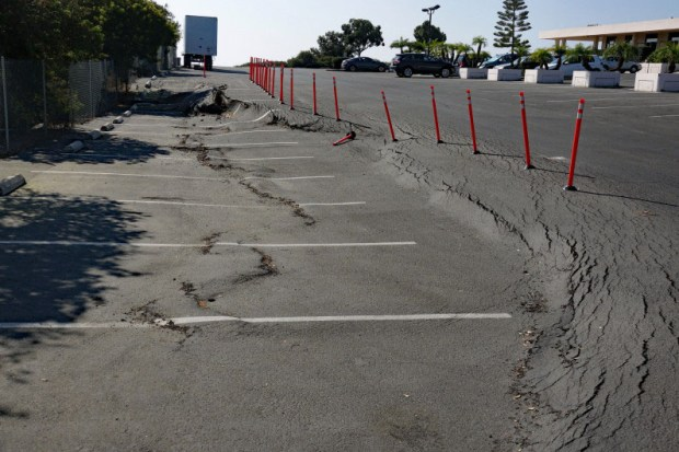 This is how a slope slippage looked in October, 2017, at St. Andrews Methodist Church in San Clemente. It has grown since. (File photo by Fred Swegles, Orange County Register/SCNG)