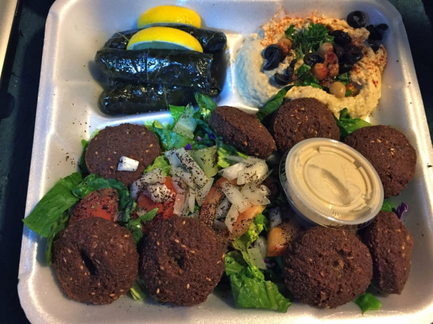 Falafel at King Mediterrano in Torrance is about as good as you're going to find anywhere. This plate comes with a side of stuffed grapes leaves and hummus. (Photo courtesy Yelp)