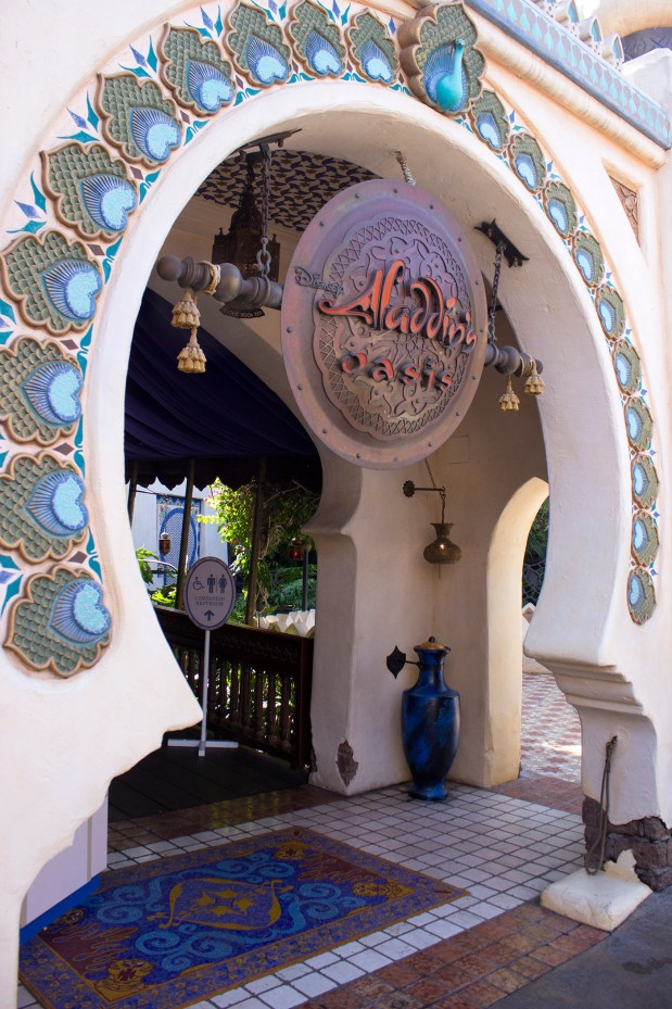 This photo depicts the Aladdin's Oasis in Disneyland's Adventureland in 2015. The space, between the Enchanted Tiki Room and the Jungle Cruise, opened originally in 1962 as the Tahitian Terrace dinner theater. In 1993, it was redesigned to reflect the popularity of the just-released Aladdin movie, before being closed and only opened for special events. Later, it was opened for take-out meals for parade viewing. (File photo by Mark Eades, Orange County Register/SCNG)