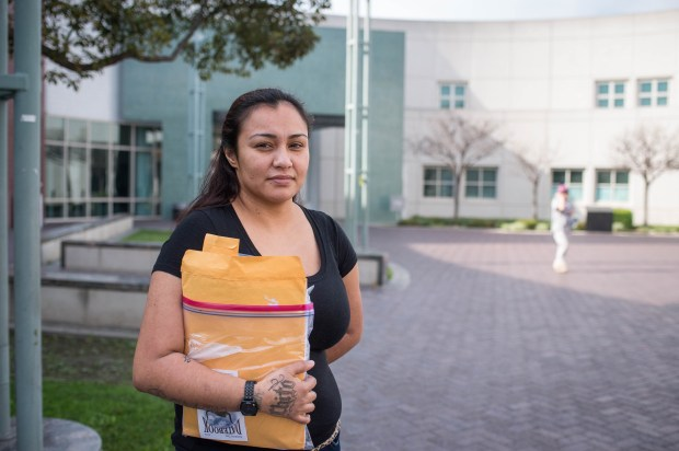 Christine Lazos, 27, of Bell Gardens, leaves the Women's Jail in Lynwood after serving 180 days. Lazos said she's been in and out of prison and jail 19 times. (Photo by Sarah Reingewirtz, Los Angeles Daily News/SCNG)