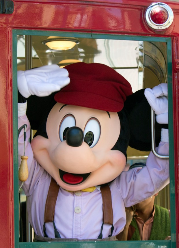 It is none other than Mickey Mouse inside the backside of one of the Red Car Trolleys at Disney California Adventure. (Photo by Mark Eades, Orange County Register/SCNG) Taken in Anaheim at Disneyland Resort on Tuesday, August 8, 2017.