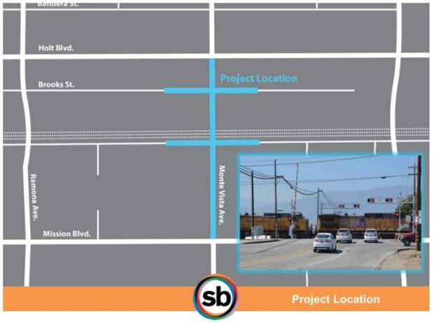 Map of the Monte Vista Avenue in Montclair