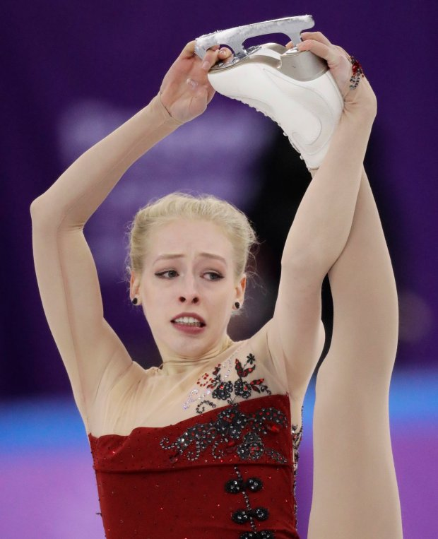 Bradie Tennell, of the United States performs in the ladies single figure skating short program in the Gangneung Ice Arena at the 2018 Winter Olympics in Gangneung, South Korea, Sunday, Feb. 11, 2018. (AP Photo/Bernat Armangue)