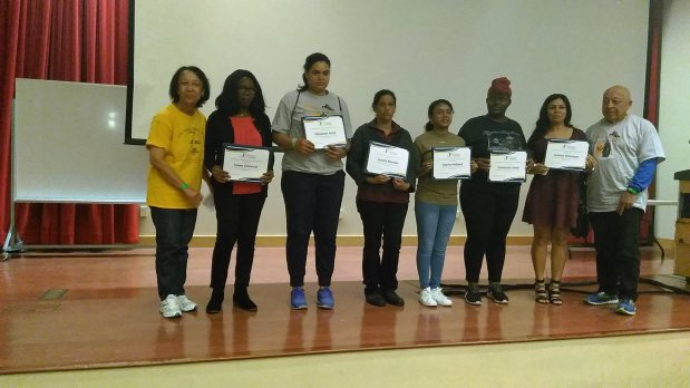 Jackie Wright, left, and Barnett Grier Jr., right, honor recent recipients of the Dr. Barnett and Eleanor Jean Grier Scholarship, from left Taiwo Olawuyl, Melanee Terry, Janely Murillo, Asyria Holland, Emmonie Jones and Lauryn Solomon. The scholarship is one of several administered by The Community Foundation, which last year awarded $2.1 million to local college-bound students. (Photo courtesy of the The Community Foundation)