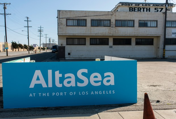 An AltaSea sign is seen from the road in front of Berth 57 at the Port of Los Angeles. Monday, February 5, 2018. (Photo by Thomas R. Cordova / Daily Breeze)
