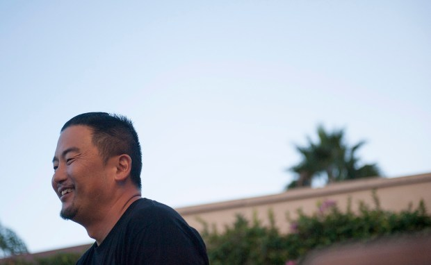 "Chef Roy Choi, who was a consultant on the film, ""Chef,"" speaks to press at the Sunset Towers Hotel Tuesday at a press event for the DVD release of the movie. ///ADDITIONAL INFO: Food.ChoiFavreau.1001 - 9/23/14 - Photo by MIGUEL VASCONCELLOS / CONTRIBUTING PHOTOGRAPHER - Chef Roy Choi, of Kogi Truck fame, will put on a private dinner and cooking lesson with actor-director Jon Favreau. Favreau used Choi as a consultant on his last film, ""Chef."". - GENERIC CAPTION"