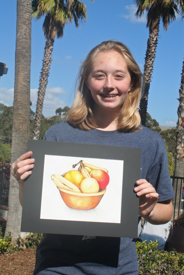 Brianna Dixon, 13, Pioneer Middle School, grade 8, used muted colors for her still life of a fruit bowl, which will will be on display next week as part of theStudent Art Invitational, sponsored by the Tustin Area Council for Fine Arts. (Photo courtesy of Betty Carle)
