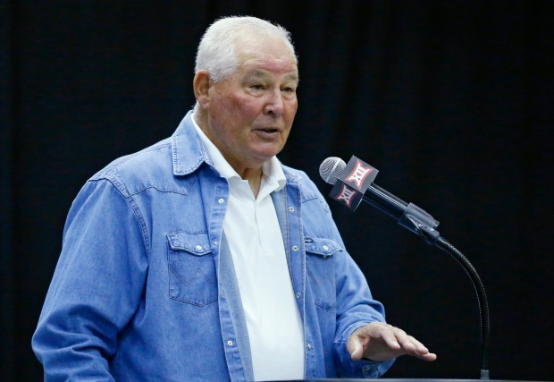 FILE - In this May 20, 2015, file photo, Augie Garrido, head baseball coach at Texas, speaks during a news conference in Tulsa, Okla. Garrido, the winningest coach in college baseball history, is out after 20 seasons at Texas. The decision Monday, May 30, 2016, comes after the Longhorns' first losing season since 1998. (AP Photo/Sue Ogrocki, File)